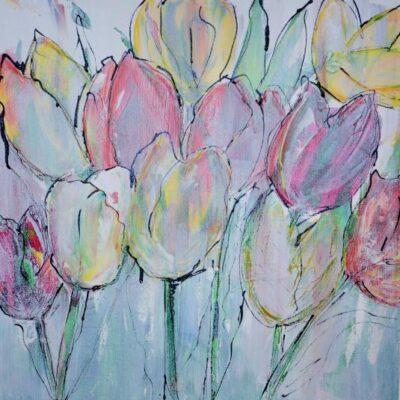IJs Tulpen - Acryl op doek
