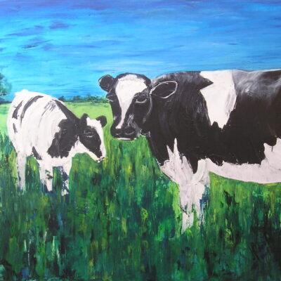 Achterhoekse koeien - Acryl op doek - 80 x 100