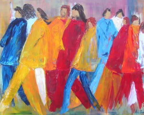 Mensen - Acryl op doek - 100 x 140