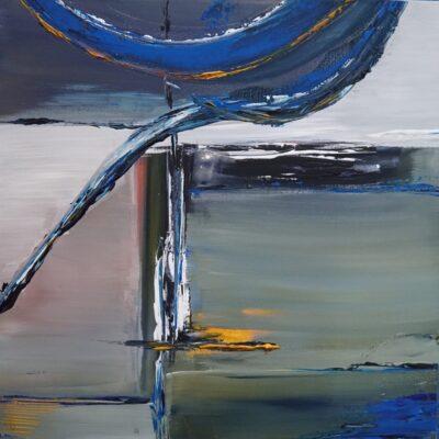 Abstracten in blauw 3 - Acryl op doek - 50 x 50 - €125,-