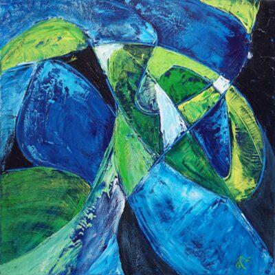 Abstracten in blauw 2 - Acryl op doek - 50 x 50 - €125,-