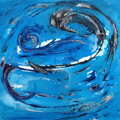 Abstracten in blauw 10 - Acryl op doek - 50 x 50 - €95,-