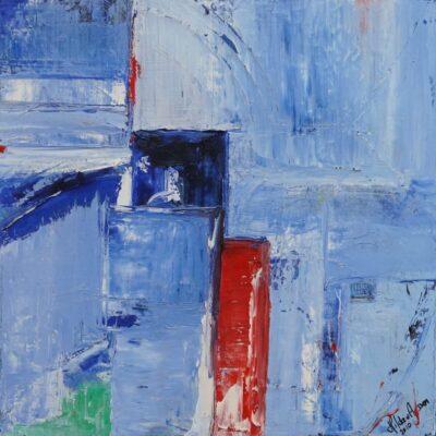 Abstracten in blauw 1 - Acryl met olie op doek - 50 x 50 - €150,-