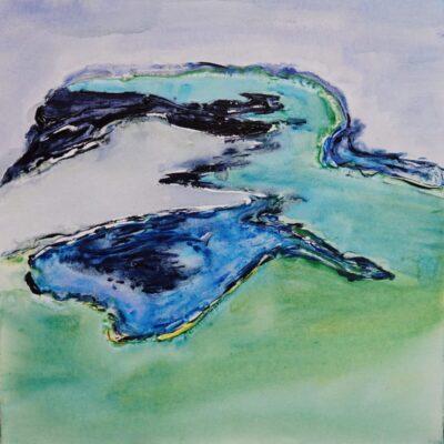 De wereld vanuit de lucht 1 - Acryl op doek - 50 x 50 - €95,-