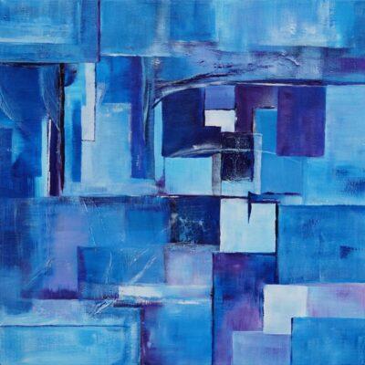 Abstracten in blauw 7 - Acryl op doek - 50 x 50 - €150,-