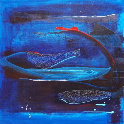 Abstracten in blauw 8 - Mixed media - 50 x 50 - €125,-