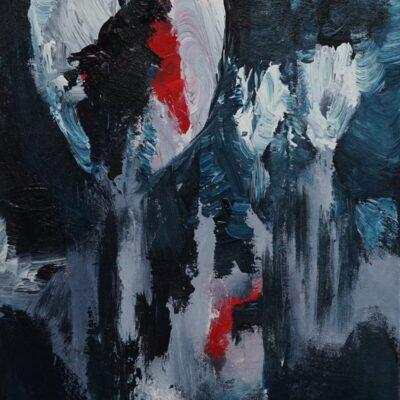 Abstract met rood 1 - Acryl op doek - 30 x 30 - €50,-