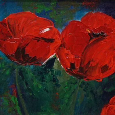 Poppies in red 1 - Acryl op doek - 30 x 40