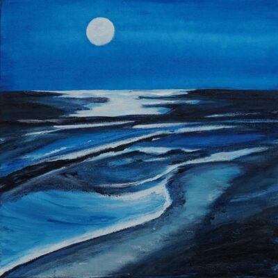 Kleine maan - Acryl op doek - 30 x 30 - €95,-