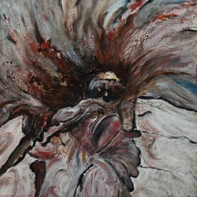 De schuilhut - Acryl op doek - 40 x 40 - €150,-