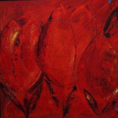 Tulpen trio - Acryl op doek - 100 x 100 - €750,-