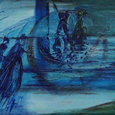 De overtocht - Acryl op board - 30 x 40 - €125,-