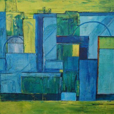 Abstracte stad - Acryl op doek - 100 x 140 - €950,-