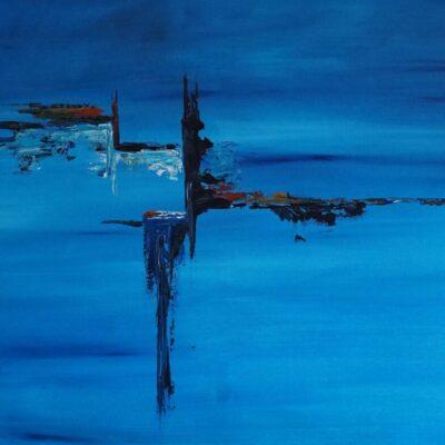 Blauw als de zee - Acryl op doek - 75 x 115 - €550,-