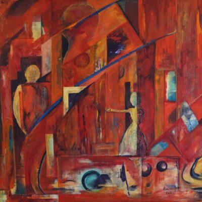 Ontmoeting - Acryl op doek - 80 x 100 - €750,-