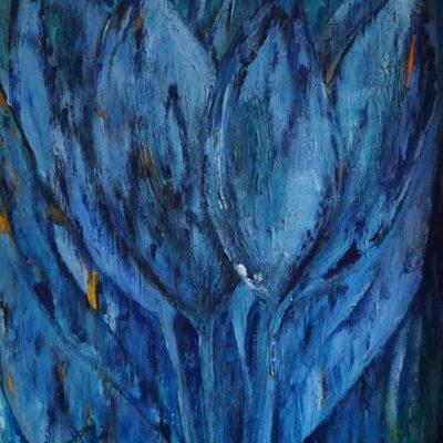 Tulpen in blauw - Acryl op doek - 50 x 70 - €350,-