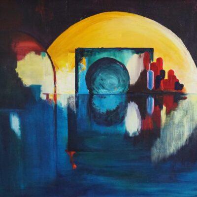 De Spiegel - Acryl op doek - 90 x 110 - €750,-