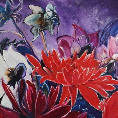 Bloemen in abstractie - Acryl op board - 70 x 100 - €450,-