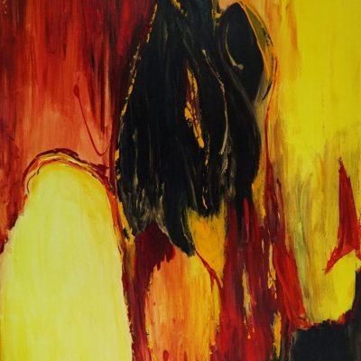 Vlammend - Acryl op doek - 100 x 140 - €1200,-