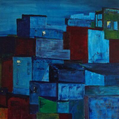 Bij nacht - Acryl op doek - 100 x 100 - €550,-