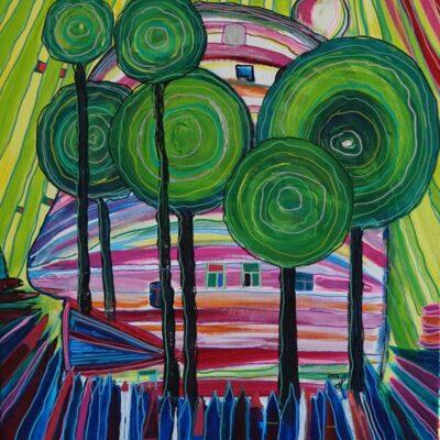 a la Hundertwasser - Acryl op doek - 50 x 60 - €250,-