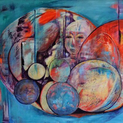 Bekommering - Acryl op board - 90 x 100 - €750,-