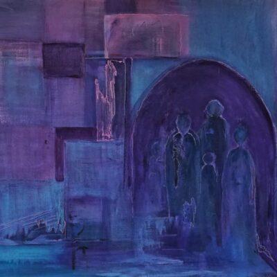 De kerkgang - Acryl op doek - 60 x 80 - €350,-