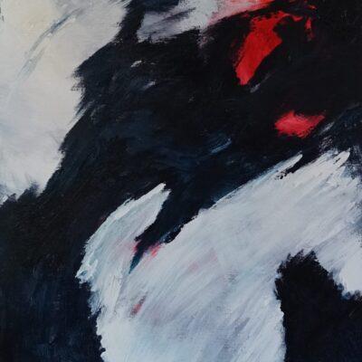Abstract met rood 2 - Acryl op doek - 50 x 60 - €150,-